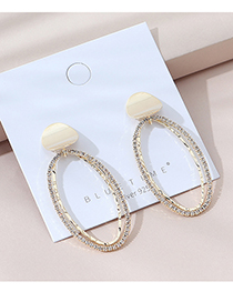 Fashion Golden Real Gold-plated Diamond Cutout Geometric Earrings