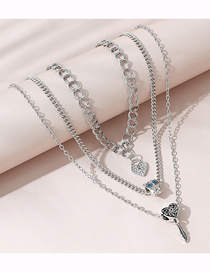 Fashion Silver Love Multilayer Necklace