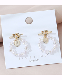 Fashion White Real Gold Plated Crystal Glass Hollow Knotted Earrings