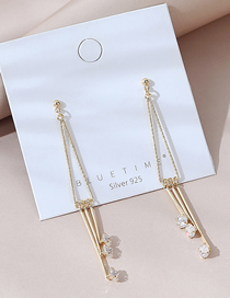 Fashion Golden Real Gold Plated Tassel Earrings