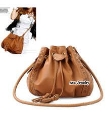 Reversible Brown Drawstring Rope Tassels Design PU Shoulder bags