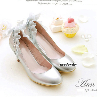 High Waist Silver Color Bow Tie Middle Heel PU Pumps