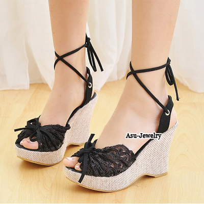 Turkish Black Lace Comfortable Charm Design PU Sandals