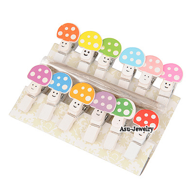 Promise Multicolour Mushroom Cartoon  Design Wood Wooden Clip