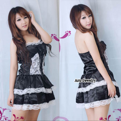 Marvelous Black Babydoll Mini Lace Design Spandex Bady Dolls