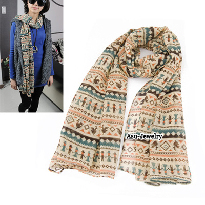 Hot Blue People Cock Pattern Voile Fashion Scarves