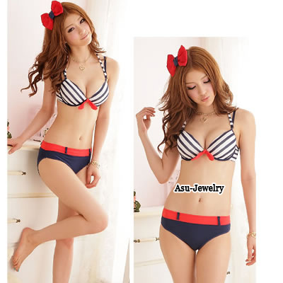 18K Blue Summer Beach Round Neck Charm Design Cotton Underwear