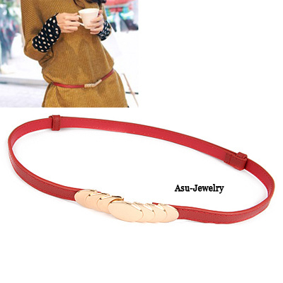 Pentacle Red Pu Leather Round Shape PU Thin belts