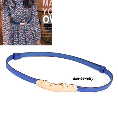Coral Blue Concise Pu Leather Round PU Thin belts