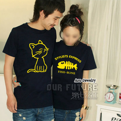 Rosary Blue Fashion Cat With Fish Bone Cotton Lover Suit