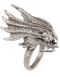 Exquisite Antique Silver Dinosaur Alloy Fashion Rings