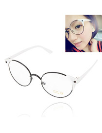 Emerald With White Frame Round Shape Frame  Design Resin Fashon Glasses