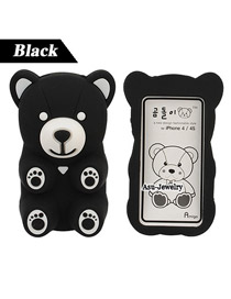 Inspired Black Bear Shape  Design Silicon Iphone 4 4s