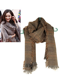 Nautical Brown Classic Grid Pattern Imitation wool Fashion Scarves