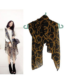 Collar Black Elegant Chain Pattern Chiffon Fashion Scarves