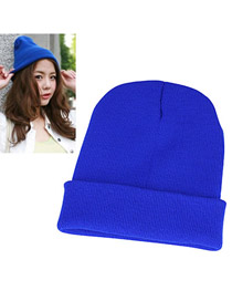 Korean simple design fashion warm kintting wool hat (Dark Blue)