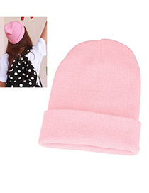 Lined Pink Simple Knitting Wool Fashion Hats