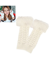 Digital White Half Finger Cotton Fingerless Gloves