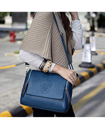 Wrap Blue Simple Deaign PU Shoulder bags