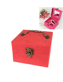 Airmail Red Square Shape Design Cotton Jewelry box