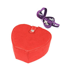 Engravable Red Heart Shape Design Alloy Jewelry box