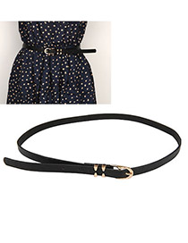 Beauteous Black Candy Color Thin Dress PU Thin belts