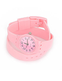 Monogramme Pink Andy Color Double Layer Watchband Alloy Ladies Watches