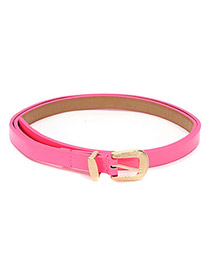 Stainless Plum Red Sweet Candy Color Thin PU Thin belts