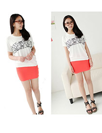 Limited Watermelon Red Fit Silm A Shape Mini Skirt Cotton Dress-Skirt