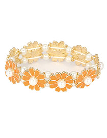 Indie Orange Elegant Daisy Pearl Korean Fashion Bracelet