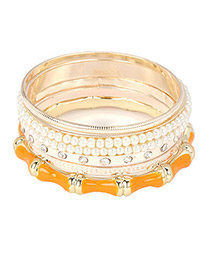 Reflective Yellow Multilayer Alloy Fashion Bangles