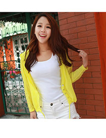 Cubic Yellow Uv Protection Ultrathin Cardigan Fibre Coat-Jacket