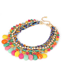 Engagement Multicolour Braided Rope Acrylic Drop Pendant Acrylic Bib Necklaces