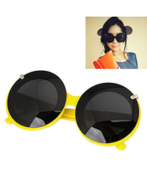 Patagonia With Yellow Frame Fashion Round Shape Mikey Design Plastic Women Sunglasses