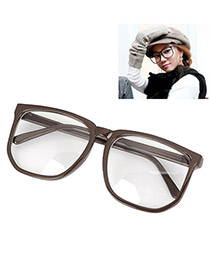 Rhinestone With Coffee Frame Fashion Big Frame Charm Design Plastic Fashon Glasses