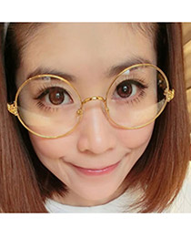 Monarchy Gold Color+Leoparde Large Round Frame Resin Fashon Glasses