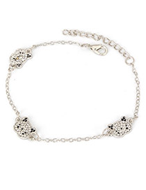 Womens Silver Color Panda With Full Diamond Design Alloy Fashion Anklets
