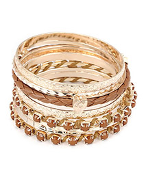 Tie Brown Heart Pendant Multilayer Alloy Fashion Bangles