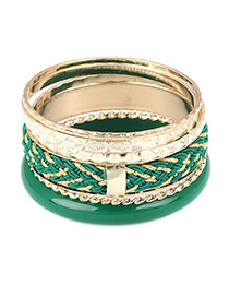 Lovable Green Multilayer Gemstone Design Alloy Fashion Bangles