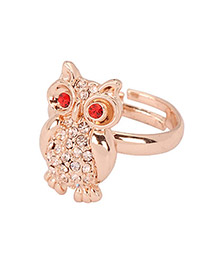 Heather Gold Color Diamond Decorated Owl Shape Design Alloy Fashion Rings