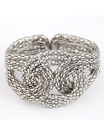Authentic Silver Color Metal Exaggerated Weaving Design Alloy Fashion Bangles