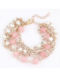 Vera Pink Beads Decorated Multilayer Chain Design