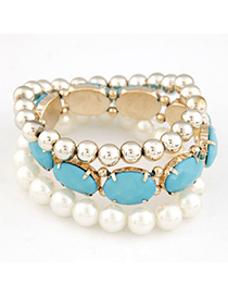 Huge Blue Gemstone Pearl Decorated Elastic Design