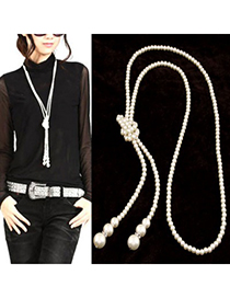Gothic Silver Color Long Imitation Pearl Simple Design Alloy Beaded Necklaces
