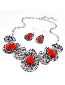 Quicksilve Red Hollow Out Water Drop Pattern Design Alloy Jewelry Sets