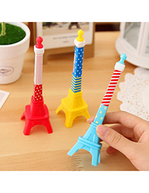 Womens Color Will Be Random Iron Tower Shape Design Plastic Writing Pens