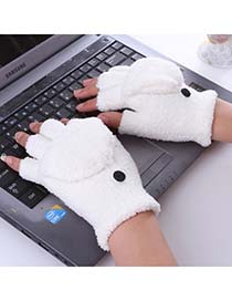 Budget White Stuffed Full Fingered Flip Mitts Lint Fashion Gloves