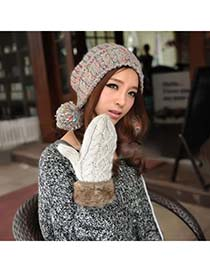 Simple Gray Hang Neck Braided Kint Knitting Wool Fashion Gloves