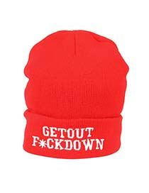 Classical Bright Red Getout Fuckdown Embroidery Knitting Wool Fashion Hats
