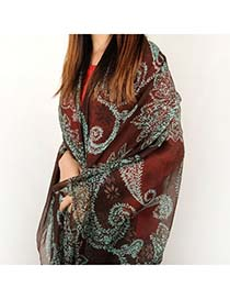Recycled Coffee Leaves Pattern Voile Shawl